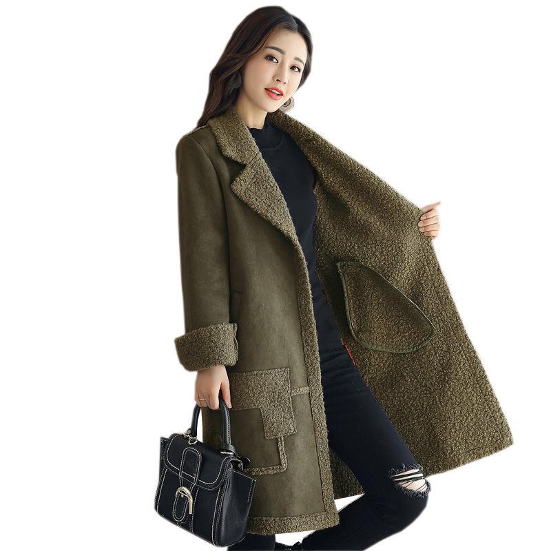 Faux Suede Lambs Wool Jacket Women Cotton Wadded Winter Jacket Women Elegant Long   Parka   Manteau Femme Hiver Winter Coat C3783