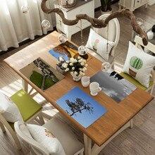 Landscape Pattern Placemats Cotton-linen Non-slip Mats Kitchen Accessories Mat Solid Placemat for Kitchen Table Decor Home цена 2017