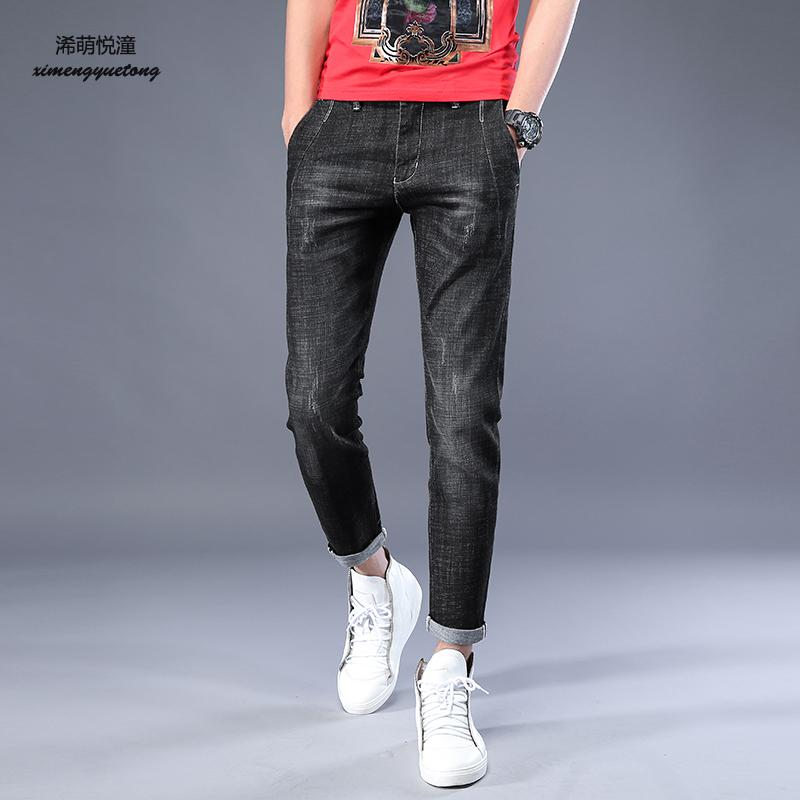 2018 Spring/Summer New Style Street Washed Wool Denim Cropped Pants Mens Trends, Youth Elasticity Curling Feet Jeans Men