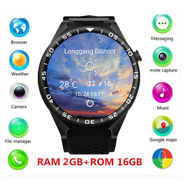 ZGPAX 1.39'' IPS Touch Android 5.1 OS MT6580 Quad-core GSM 3G Smart Watch 16G ROM WiFi GPS 2.0MP Camera Bluetooth 4.0.