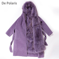 mink coats women Real natural Raccoon fur lining winter jacket Long hooded parkas mink fur coat real fur