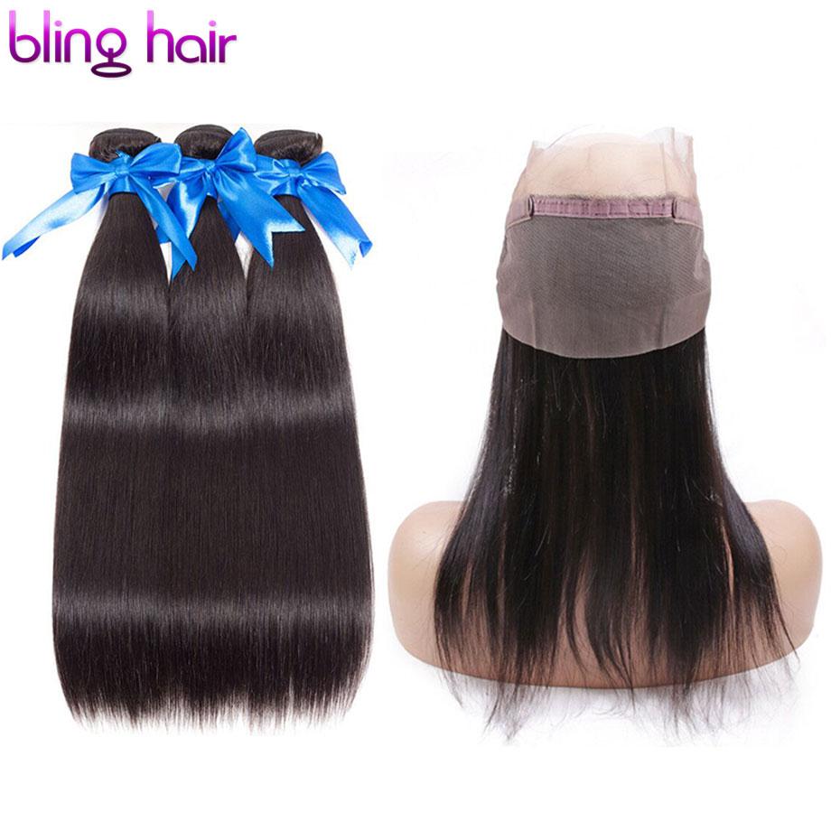 Bling Hair Straight Hair Bundles with Closure 360 Lace Frontal 100 Human Hair Bundles With Closure