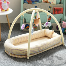 Baby Nest Bed Crib Portable Removable Washable Crib Travel Bed For Children Infant Kids Cotton Cradle Play Mat baby nest natural straw hand knitting baby portable bed crib breathable outdoor travel cars baby cradle bed protector for kids