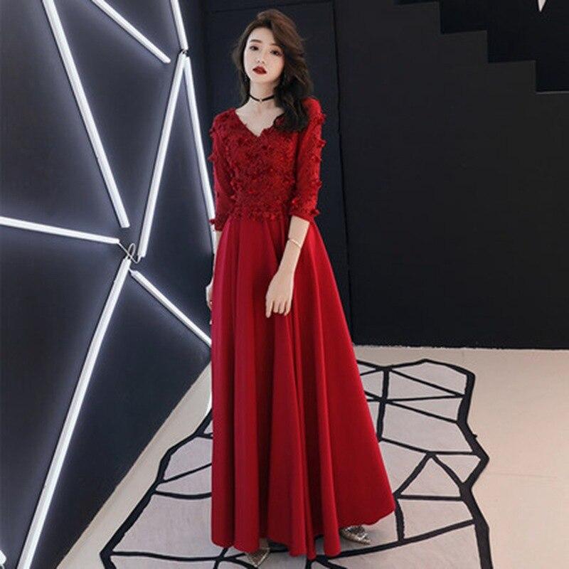 ca945659bb0b74b Винтажное красное платье до щиколотки женское улучшенное Qipao летнее платье  с длинным рукавом платье плюс размер сексуальное с v-образным вы.