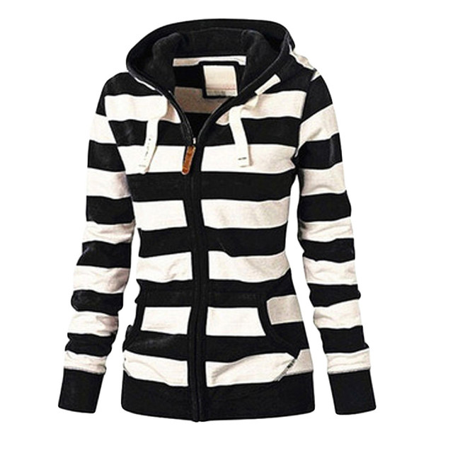 Clothing autumn and winter women's ladies striped zipper top hoodie hooded sweatshirt jacket casual self-cultivation wild 5XL