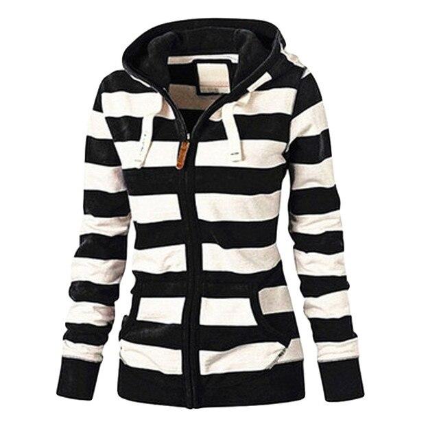 Kleidung herbst und winter frauen damen striped zipper top hoodie mit kapuze sweatshirt jacke casual selbst-anbau wilden 5XL