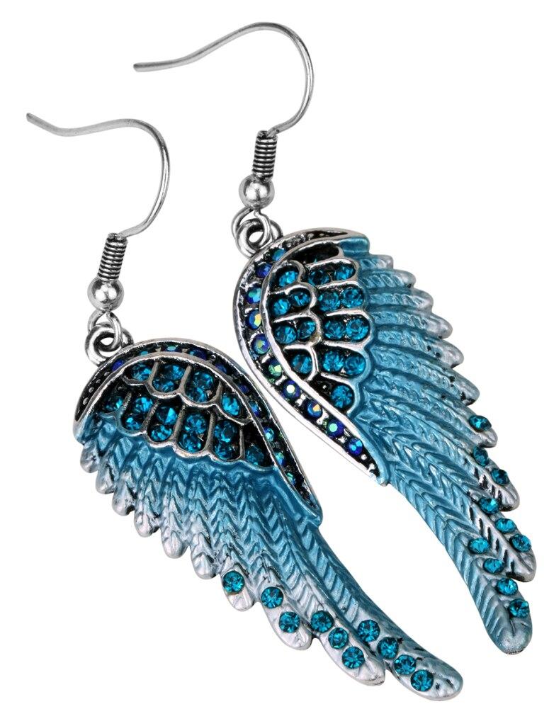Engel vinger dingle øreringe antik guld sølv farve W krystal - Mode smykker - Foto 5