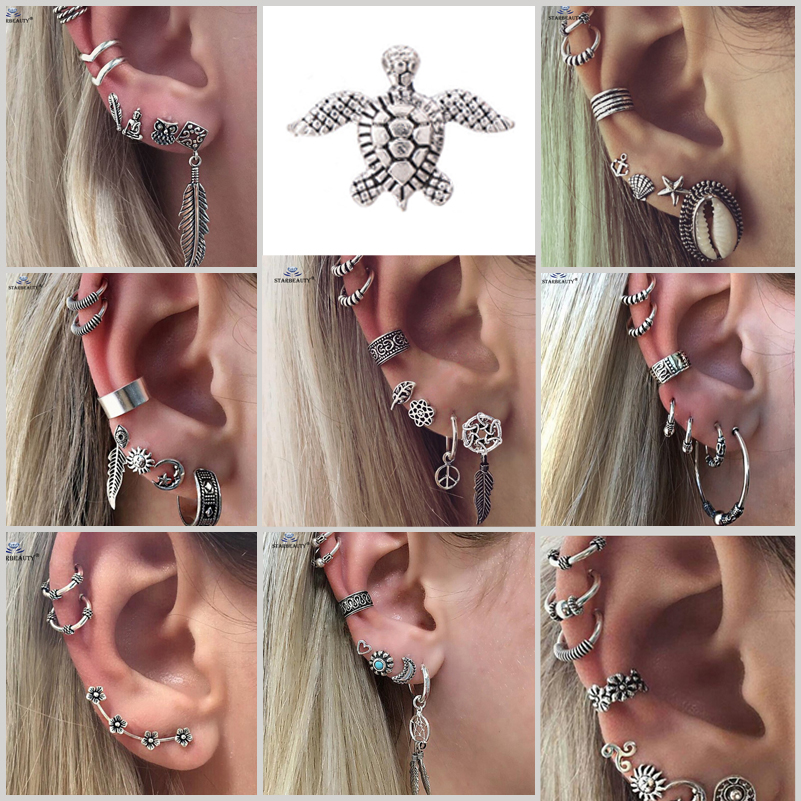 18 Types Retro Turtle Leaf Ear Piercing Helix Piercing Tragus Fake Nose Ring Star Studs Faux Piercing Oreille Body Jewelry Lot Сникеры