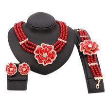 Fina Perla de Cristal Perlas Africanas Sistemas de La Joyería Nupcial de La Boda Del Partido Cena Esmalte Flor Colgante Collar Pulsera Pendientes Anillos