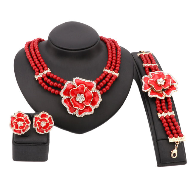 Fine Pearl Crystal African Beads Jewelry Sets Bridal Wedding Party Dinner Enamel Flower Pendant Necklace Bracelet Earrings Rings