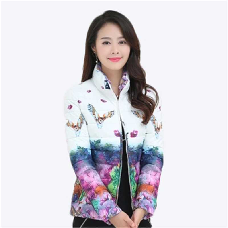 Winter Large Size Womens   Parkas   Jacket Thicken Outerwear Light Coats Short Big Size Female Warm Cotton Print Floral Coats D849