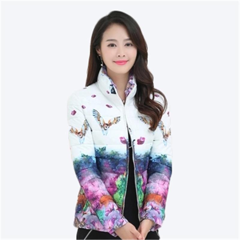 Winter Large Size Womens   Parkas   Jacket Thicken Outerwear Light Coats Short Big Size Female Warm Cotton Print Floral Coats D849