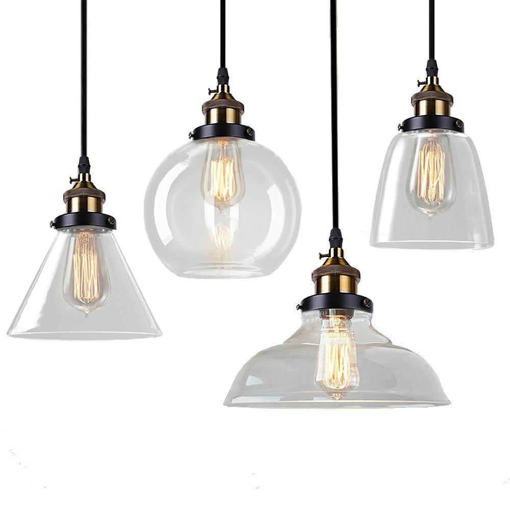 Glass Pendant Lamp Modern Vintage Edison Bulbs Bar Restaurant Bedrooms  Large Shopping Mall Muuto E27 Art