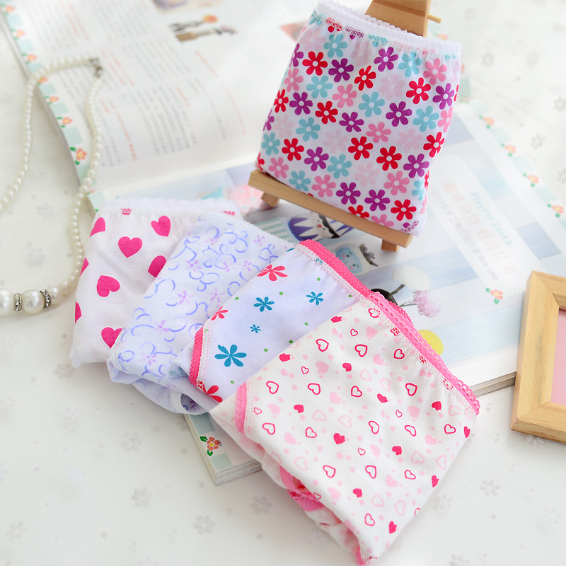5 Pcs/lot New Candy Colors Mix Styles 100% Cotton Print Children's Underwear Panties For 2-12 Years