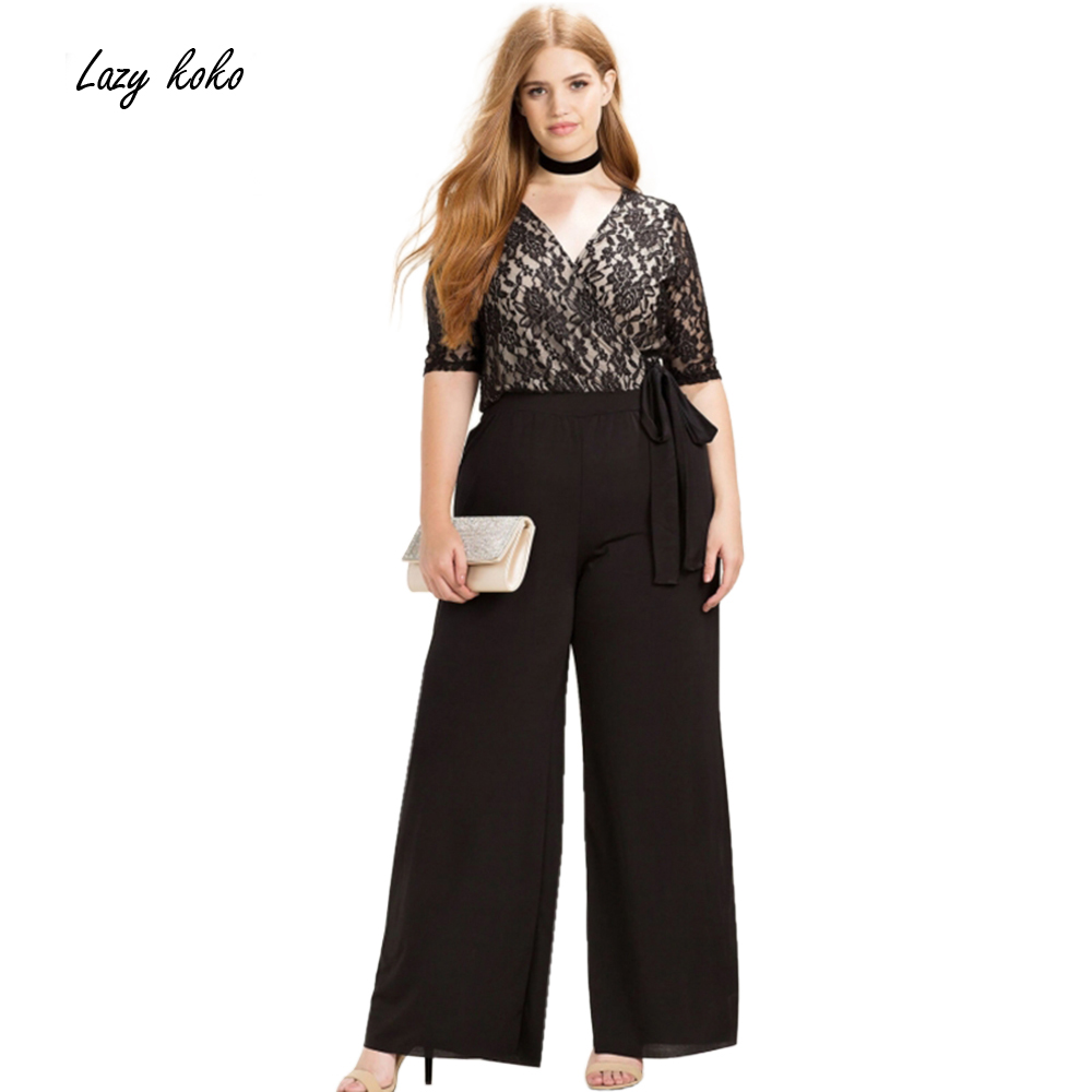 Lazy Koko Plus Size Fashion Women Clothing Casual Solid Sexy Lace Patchwork Pants Slim Big Size