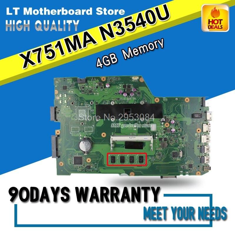 X751MA Motherboard N3540U CPU REV2.0 For ASUS K751M K751MA X752M R752MA Laptop motherboard X751MA Mainboard X751MA MotherboardX751MA Motherboard N3540U CPU REV2.0 For ASUS K751M K751MA X752M R752MA Laptop motherboard X751MA Mainboard X751MA Motherboard