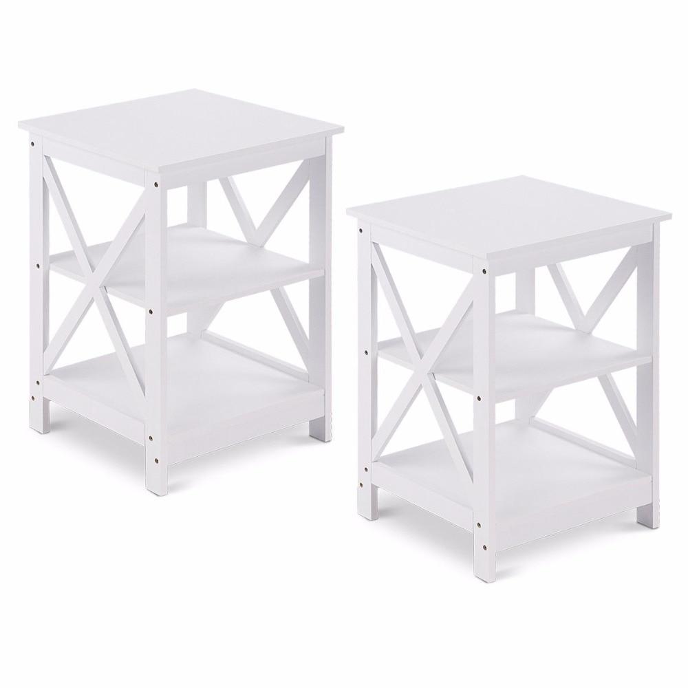 Giantex 3 Tier Nightstand End Table Storage Display Shelf