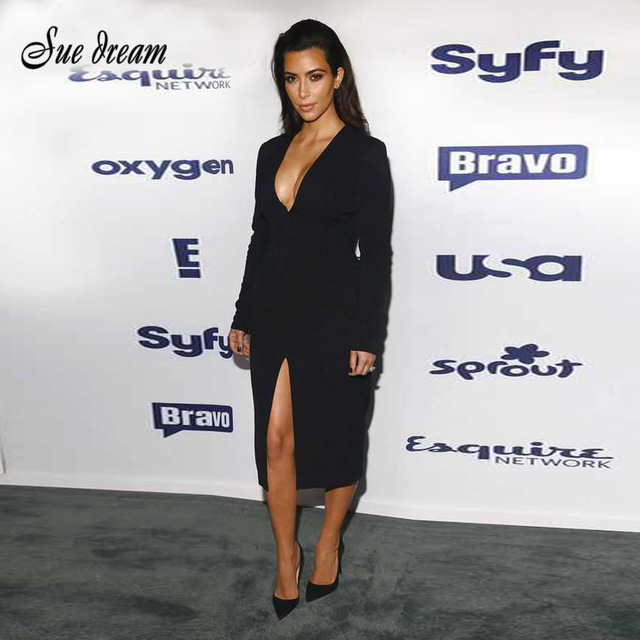 f8a4178b537 New Arrival Sexy Kim Kardashian Black white Deep V Neck Long Sleeve Bodycon  Midi Dresses Front Split Cocktail party Dress