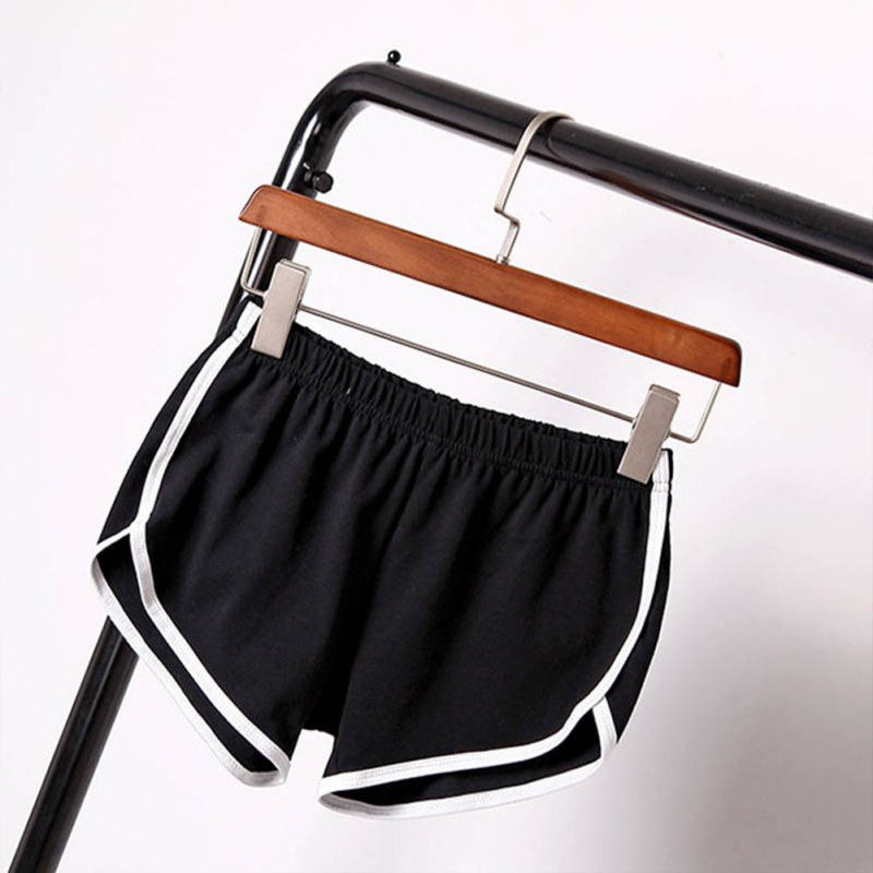 Women Elastic Waist Short All-match Loose Solid Soft Cotton Casual Short 9