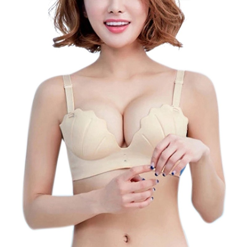 New Women Sexy V Shell Bra Women Solid Push Up Bra Adjustable Bralette Comfort Shell Seamless Underwear
