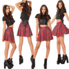2017 Women Fashion Sexy Lady Schoolgirl Cosplay Sleepwear Plaid Women Skirts High Waist Red A Line