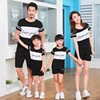 Summer Family Matching Outfits Mother Father And Daughter Son Black White Short Sleeve T Shirt Shorts