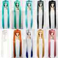 100% Newest Vocaloid Miku Hatsune Cosplay Costume Full Wigs 100cm Blue Pink White Golden Long Straight Synthetic Wig Ponytails