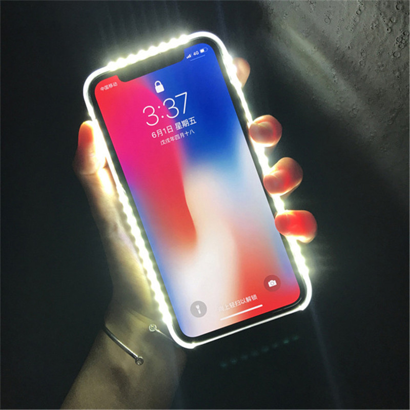 For iPhone 7 8 Plus Light Up Selfie Flash Phone Case Photo Fill Light Artifact For iPhone 7 plus X 6 6S 5S Plus 8 Cover Cases