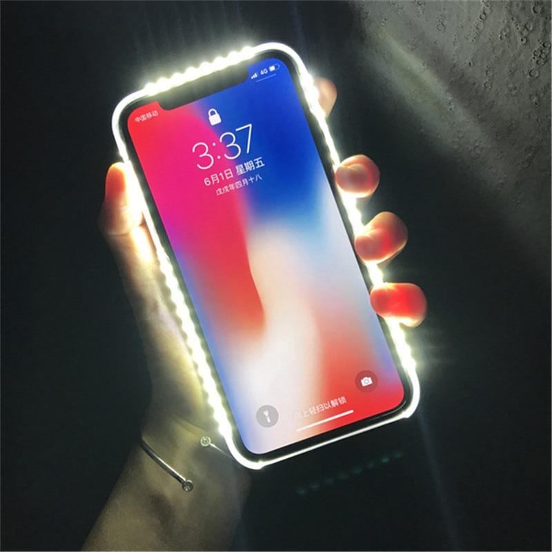 01ea7fca4b1 Para iPhone 7 8 Plus luz Up Selfie Flash funda de teléfono foto relleno luz  artefacto para iPhone 7 Plus X 6 6 S 5S Plus 8 fundas
