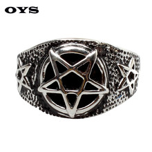 Mens Retro Personality Pentagram Satanism Five-Pointed Star Silver Tone 316L Stainless Steel Signet Ring Wholesale Jewelry