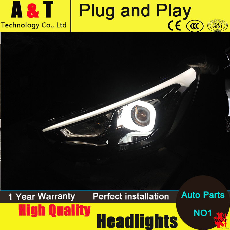 Car Styling For Hyundai Solaris headlight assembly 2011-2013 Accent led headlight Verna turn signal drl H7 with hid kit 2 pcs. accent verna solaris for hyundai led tail lamp 2011 2013 year red color yz