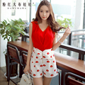 dabuwawa 2016 short pants summer style fashion casual high waisted nice white printed shorts with bow pink doll