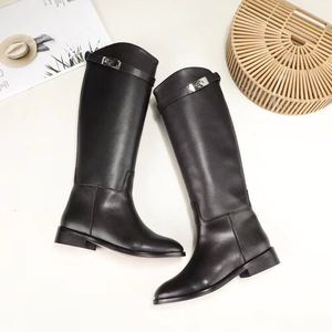 Image 5 - MStacchi Designer Genuine Leather Long Boots Sexy Woman Motorcycle Booties Belt Strap Metal Shark Lock flat heel Knee High Boots