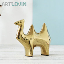 Modern Creative Ceramic Gold Camel Figurines Home Decoration Accessories Golden Animal Statue Fashion Ornaments Gifts