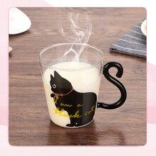 Cartoon Kitten /Little black Cat Kitty Glass Mug Tea Milk Coffee Cups Home Office Fruit Juice Cup @ pounce little kitten