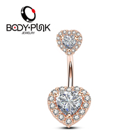 Body Punk 2018 New Belly Piercing Jewelry 316L 14G Double Heart AAA CZ Curved Barbell Girl