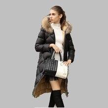 New 2017 Women Winter Jacket Big Raccoon Fur Collar Hooded Jacket Long Fashion Large size Coat Slim White Duck Down Jacket AB279