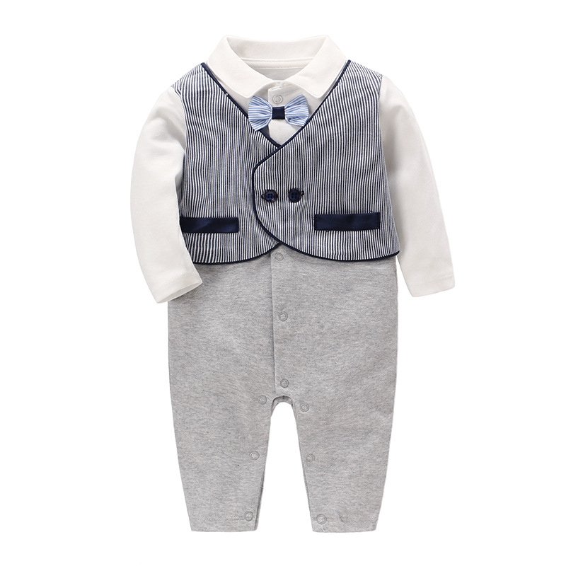 Vlinder Baby Clothes Baby Boy Romper Newborn Clothes Infant Pajama Cotton Gentleman Style Formal Clothes Long Sleeves Jumpsuit