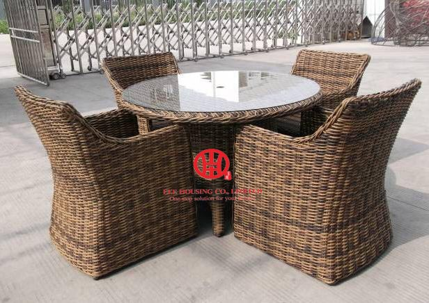 Wicker Rattan Furniture Garden Round Dining Table And Chair Set,Antique Design Furniture Hollow Wicker Dining Set