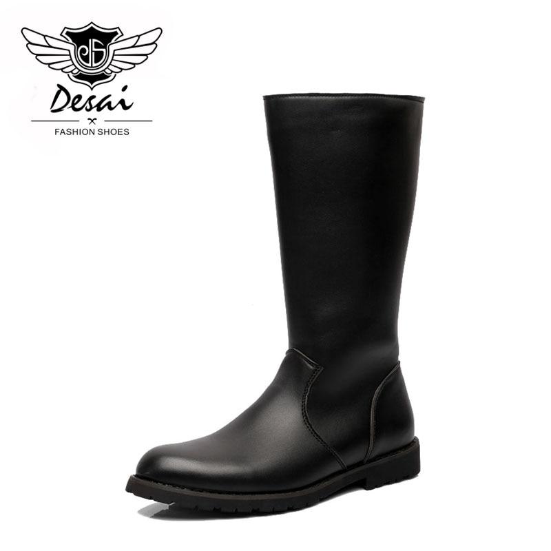 Qualité Chaussures Bottes De Zipper Pointu Cuir Haute En Black Bout Militaire Desai Soldats Hommes Nouveautés Supérieure wNvmyOn80