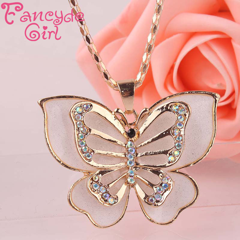Fancyde Girl Brand Gold Plated Inlay Crystal Beautiful Butterfly ...