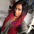 High Quality Ombre Red Synthetic Best Lace Front Wigs Online Heat Resistant Cheap Good Looking Red Synthetic Wig For Black Women