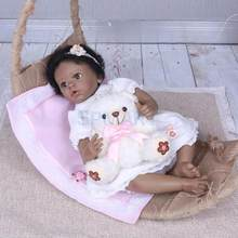 Real Touch 22inch Reborn Baby Girl Doll African American Doll with Magnetic Pacifier , Nursing Bottle, Carpet and Clothes(China)