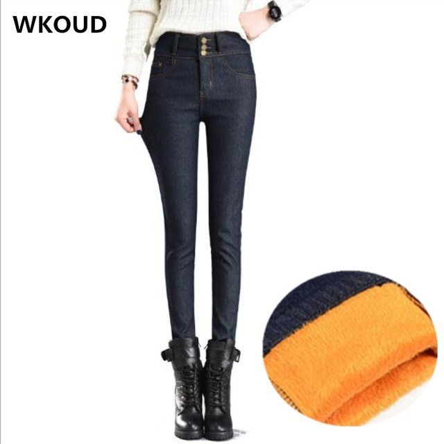 7ff5bf255a3 WKOUD Jeans Mujer Plus Size Black Skinny Jeans Women Winter Warm Pencil  Pants Gold Fleeces Thickening Denim Trousers P8532