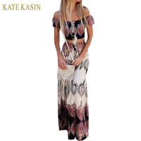 Kate Kasin Bohemian Style Maxi Dress Beach Dress Summer Boho Dress Multicolor Print Off The Shoulder