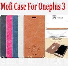 Последним в исходном mofi роскошный pu флип кожаный чехол case для oneplus 3 oneplus три 1 + 3 a3000 стенд и держатель карты case kt01