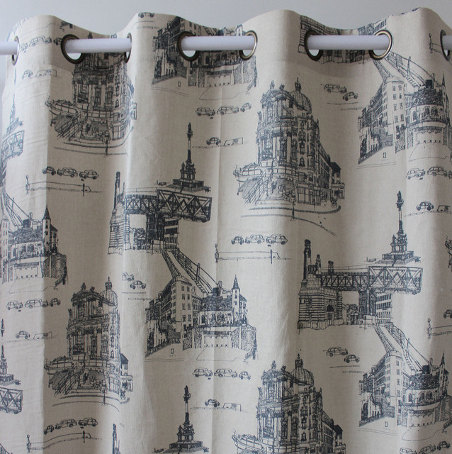vezo home printed paris street view linen finished window curtains