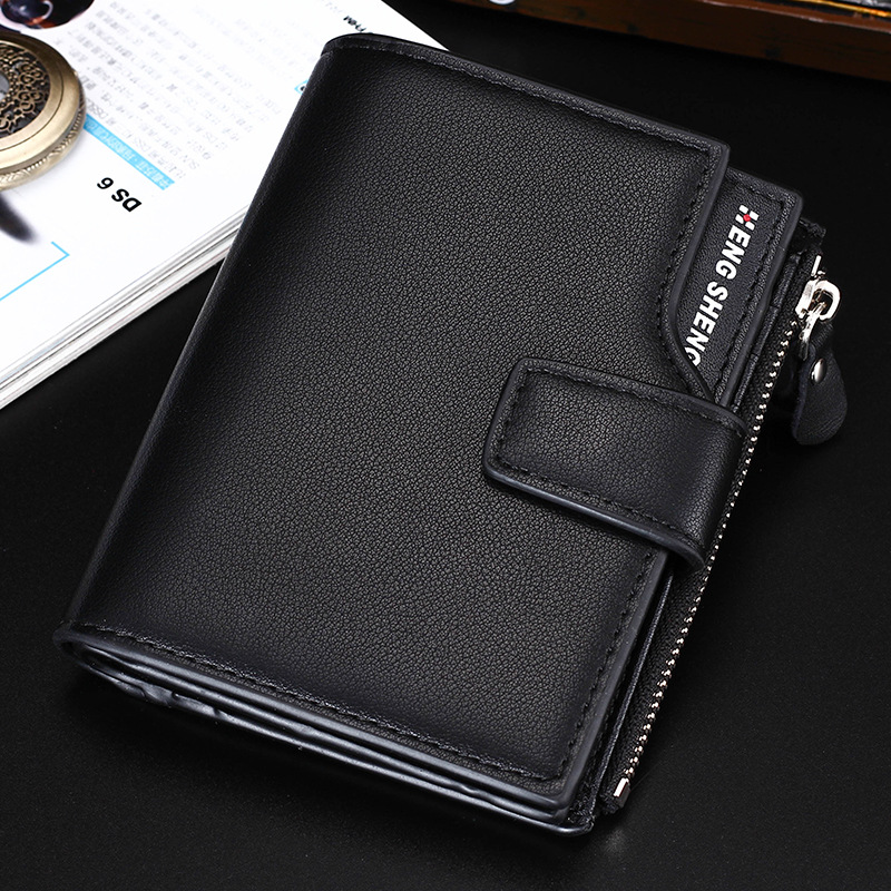 HENGSHENG Male Leather Wallets Short Zipper Coin Purse Man Wallet Card Holder Pocket Purses for Men westal genuine leather men wallets leather man short wallet vintage man purse male wallet men s small wallets card holder 8866