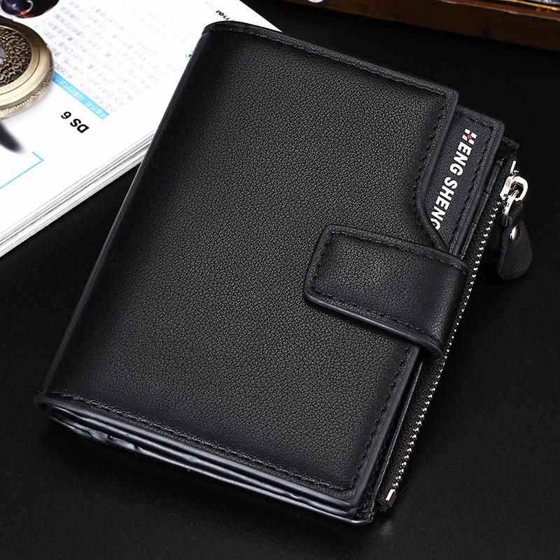 HENGSHENG Male Leather Wallets Short Zipper Coin Purse Man Wallet Card Holder Pocket Purses for Men