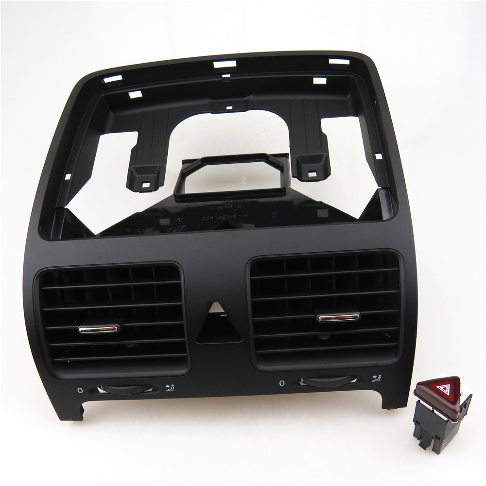 READXT Car Center Console A/C Outlet Air Condition Vent With Hazard Emergency Switch For VW JETTA 5 MK5 GOLF GTI 5 MK5 RABBIT a style new car black center console rear ac air conditioning outlet vent for vw touran caddy 2003 2015 1t0 819 203 a 1td819203a